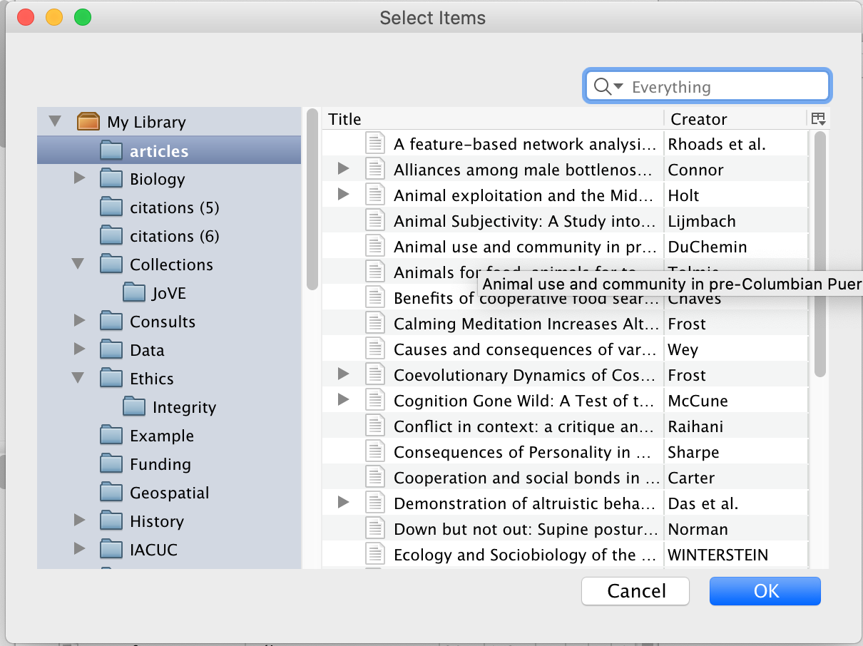 Related item dialog box visual example