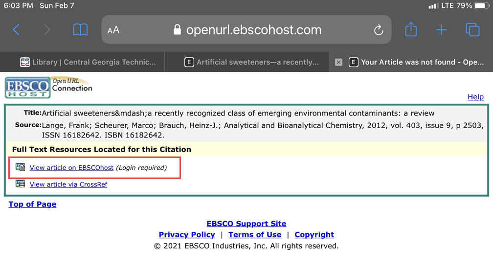 """Screenshot of EBSCO page with """"View article on EBSCOhost"""" highlighted."""