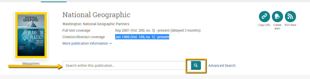 Screenshot of National Geographic information in ProQuest .