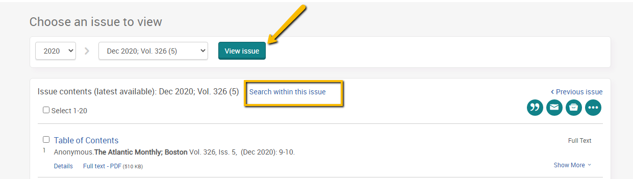 Screenshot of View Issue and Search Within Issue features.