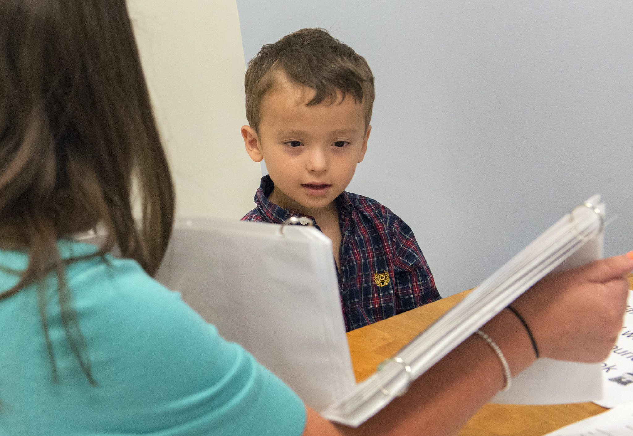 Three-year-old Max works with speech-language pathologist Jessica Caron in the Penn State Speech, Languange and Hearing Clinic.
