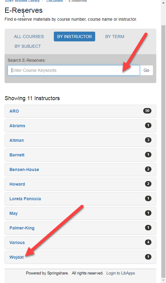 Image of the library e-reserves with an arrow pointing to the search box and instructor names.