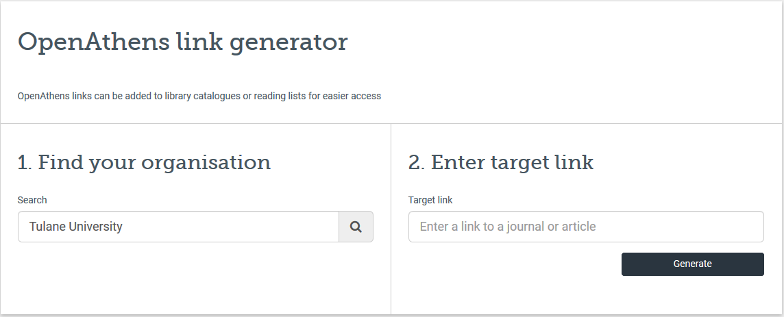Open Athens link generator interface