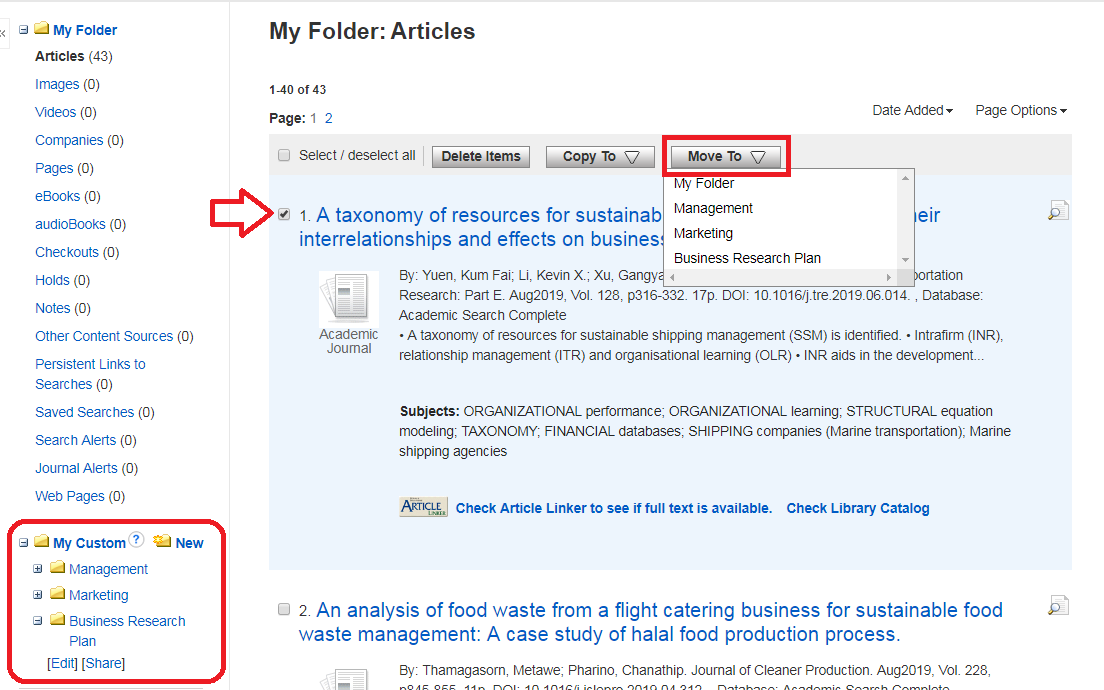 Picture of how to organize My Folder in EBSCOhost account