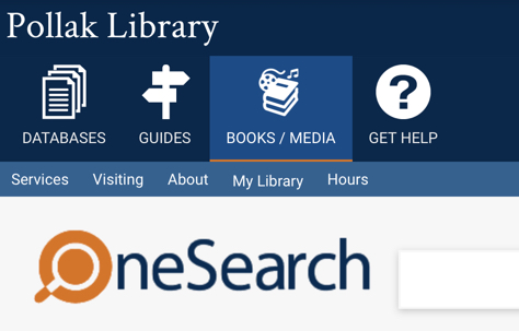 Pollak Library Homepage & OneSearch tutorial [title card]