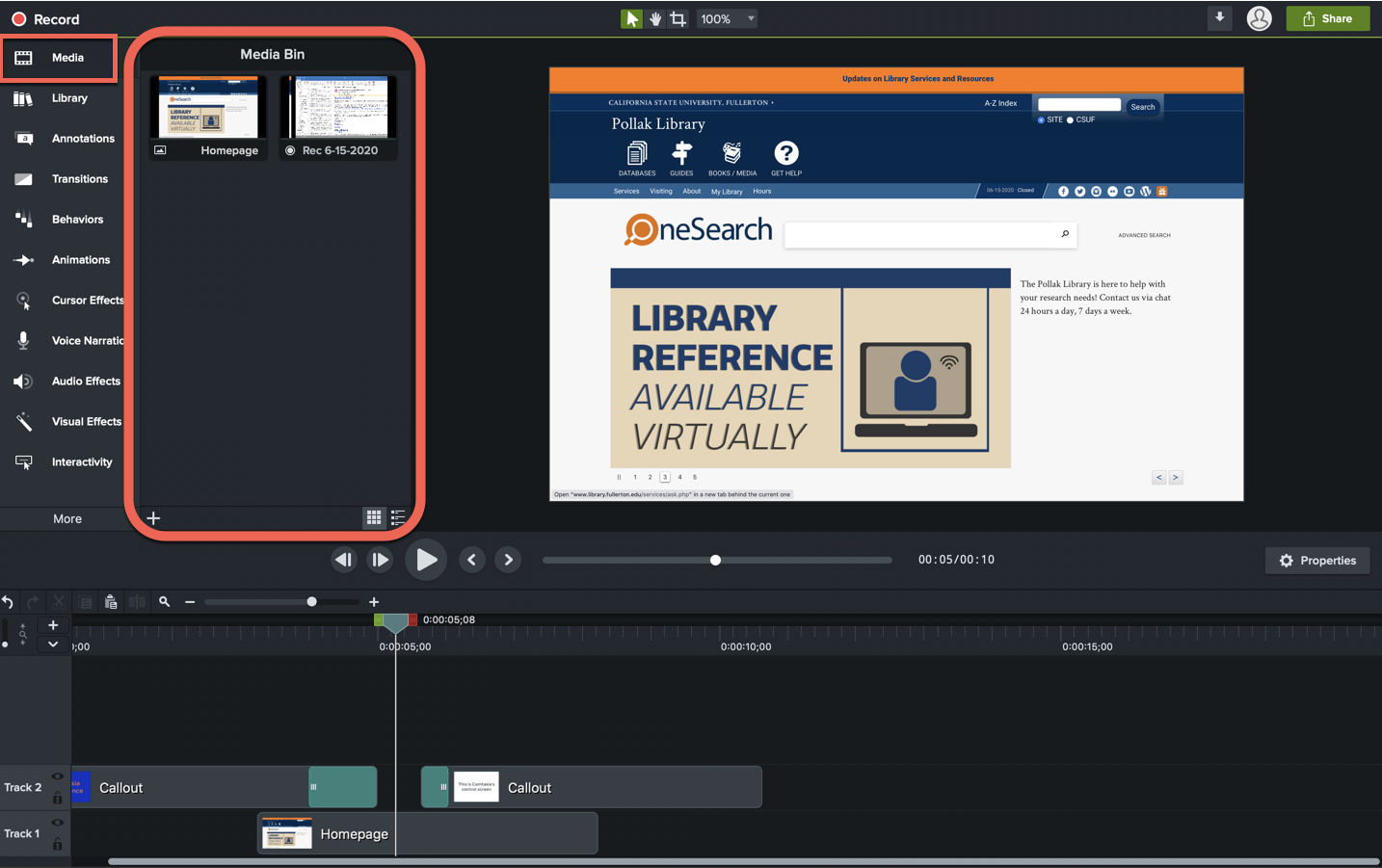 Screenshot of Camtasia window with Media bin highlighted