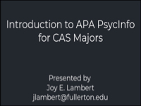 Introduction to APA PsychInfo for CAS Majors [title card]