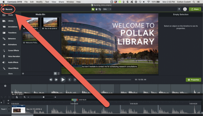 Image describing the location of the record button in the Camtasia interface