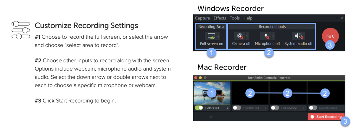 Image displaying the Mac and PC versions of the recording panel in Camtasia