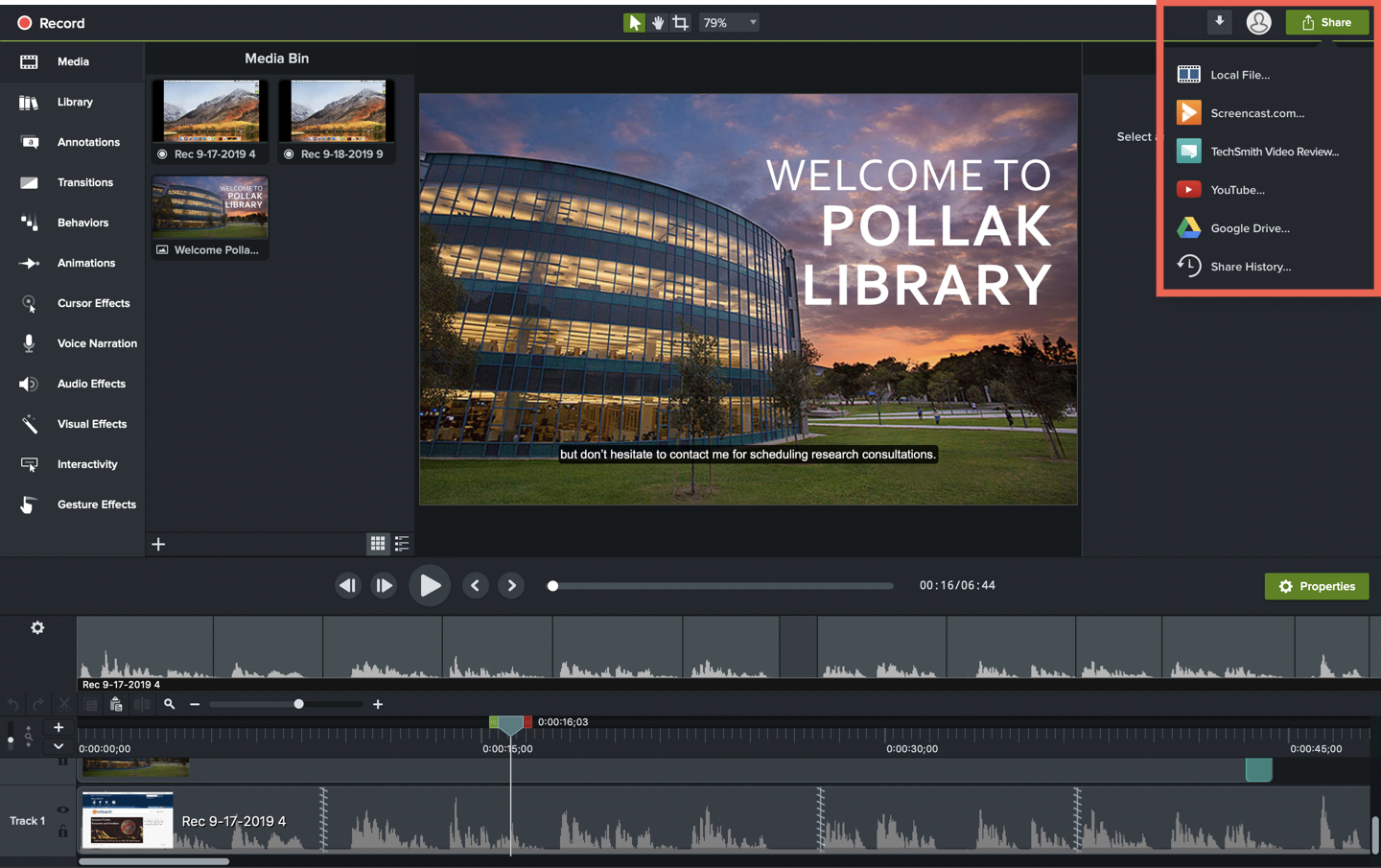 Image of sharing options within the Camtasia interface