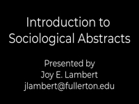 Introduction to Sociological Abstracts [title card]