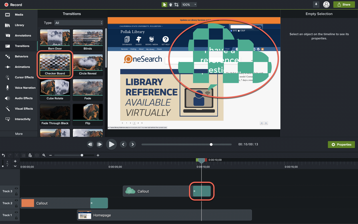 Screenshot of Camtasia interface with the transitions section highlighted