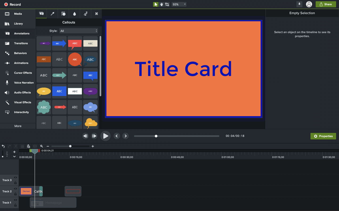 Image of a callout annotation being used as a title card in Camtasia
