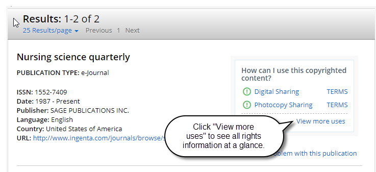 "Image shows the ""view more uses"" link"