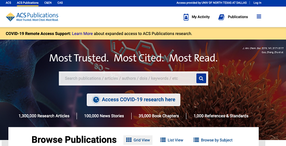 American Chemical Association Publications Database Image