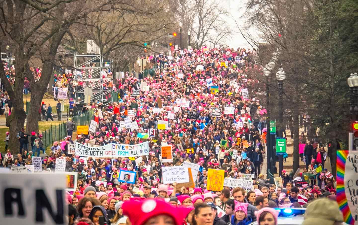 Picture of The Women's March proceeds down the National Mall in Washington, DC, on January 21, 2017. (Photo by Ted Eytan, CC BY-SA 2.0)
