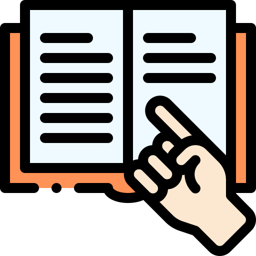 hand pointing at a book icon