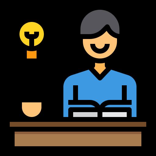 person at desk icon