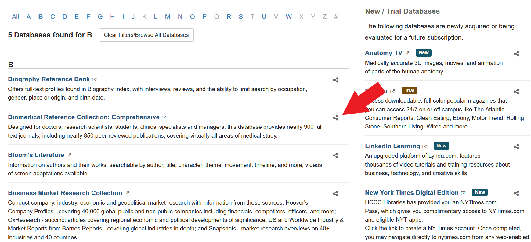 screenshot of database a-z page with an arrow pointing to the share link next to a database name