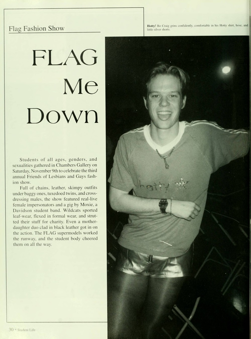 Page from 1997 Quips and Cranks about FLAG. Features organization description and photo of member