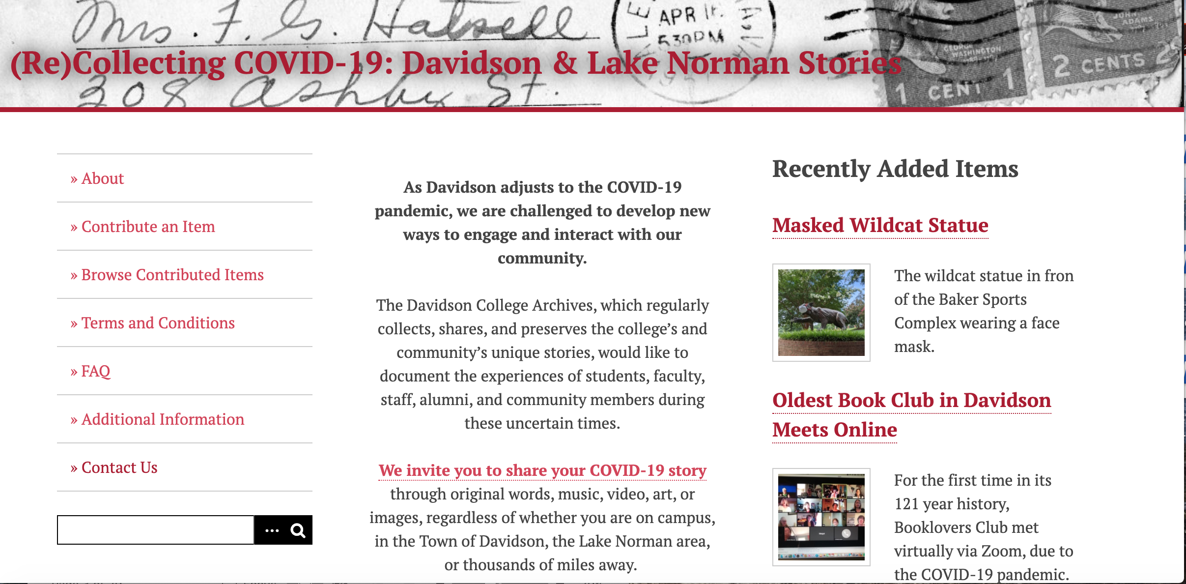 (Re)Collecting COVID-19: Davidson and Lake Norman Stories