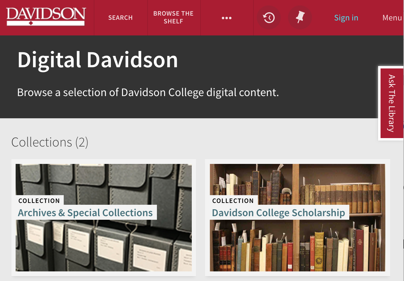 Screenshot of 'Digital Davidson' webpage