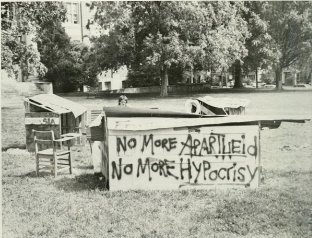 Shanty town protesting apartheid (Image from 1986 Quips and Cranks)