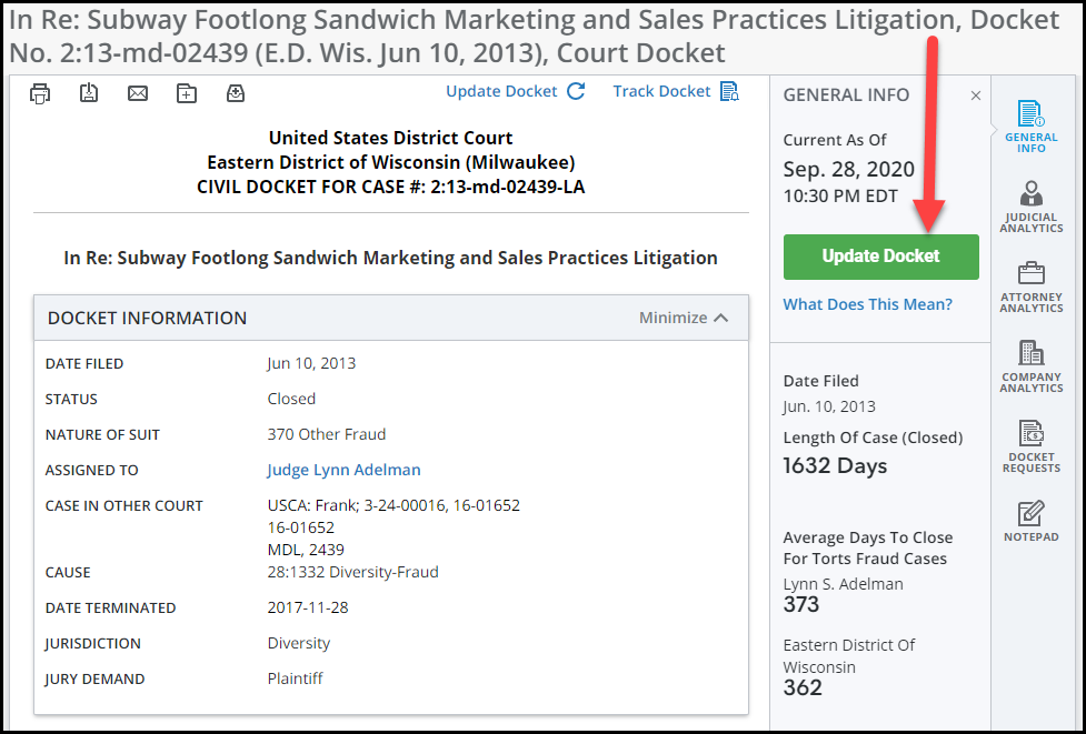 Docket sheet in Bloomberg for the case In Re: Subway Footlong Sandwich Marketing and Sales Practice Litigation, with an arrow pointing to the Update Docket button