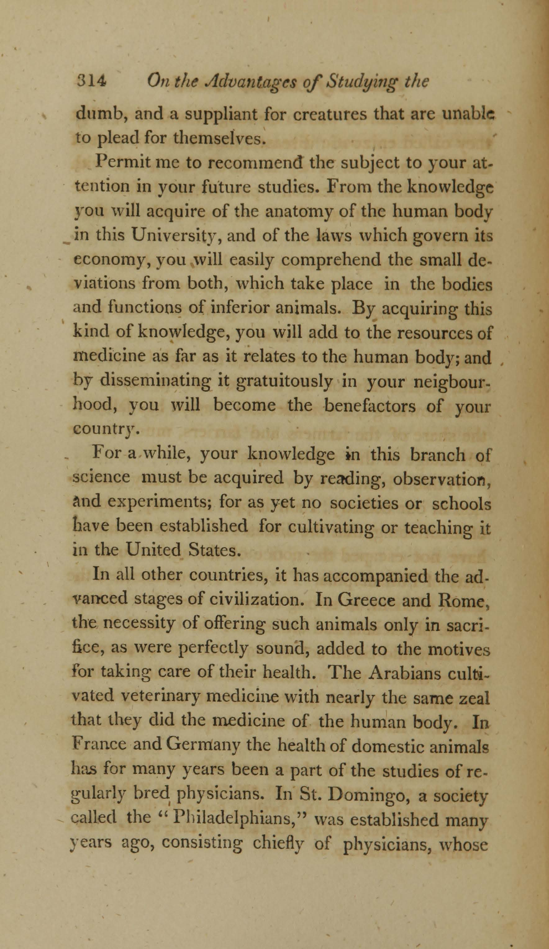 On the Duty and Advantages of Studying the Diseases of Domestic Animals (page 20)