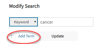 modify search with additional term button circled