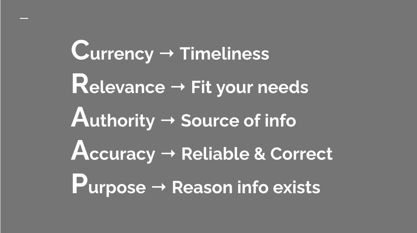 The image lists the 5 areas of the CRAAP Method: Currency or timeliness, Relevance or does it fit your needs?, Authority or Who wrote the information, Accuracy or is the information reliable and correct, and Purpose. or the reason the information exists.