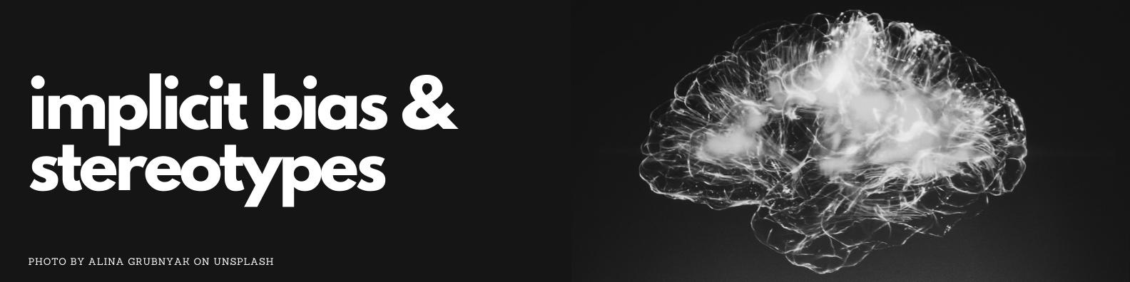 Implicit bias and stereotypes banner. Photo of brain by Alina Grubnyak on Unsplash