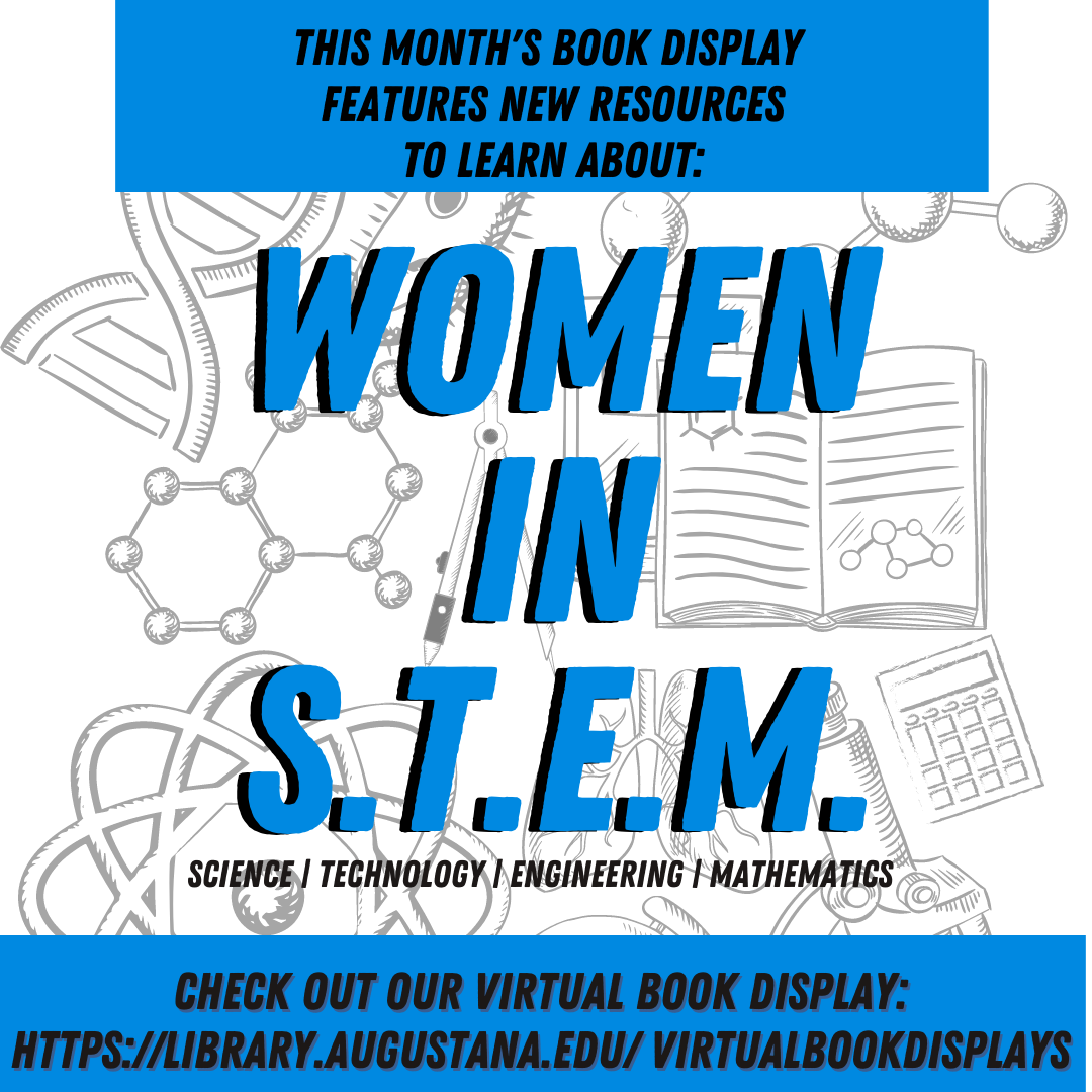 Image with Caption on March's Book Display on Women in STEM.