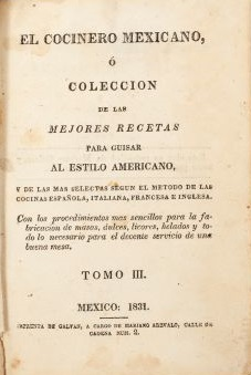 Title page of El cocinero mexicano