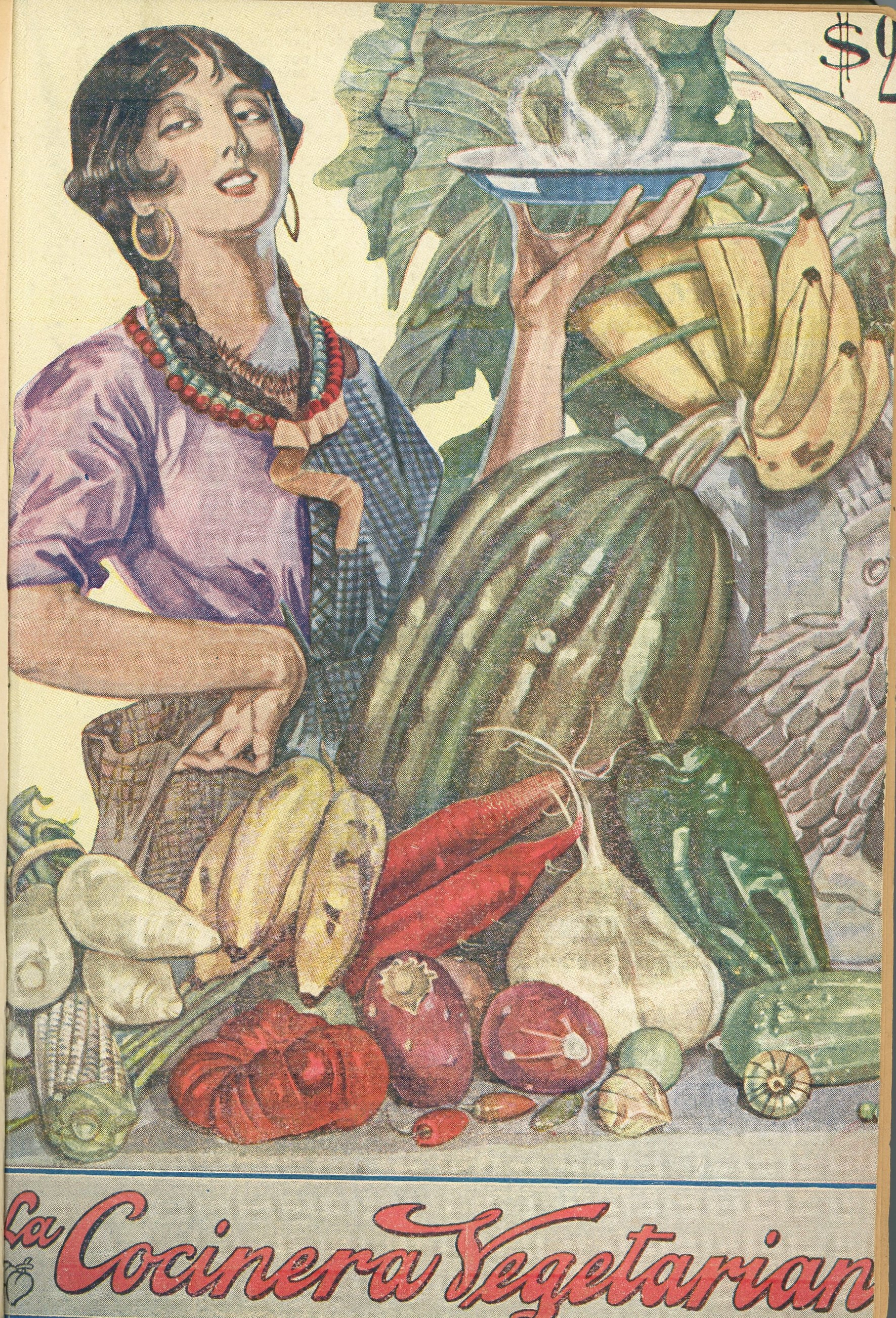 Cover for La cocinera vegetariana featuring a woman holding a dish of piping hot food with fruits and vegetables around her.