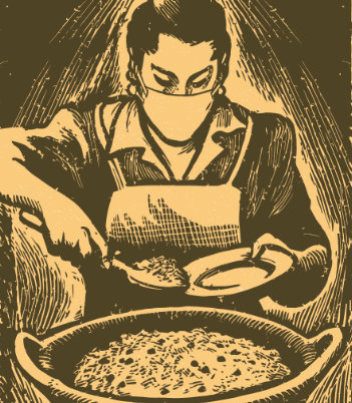 Recetas, volume 1 cover image of a woodcut of a masked woman spooning food onto a plate.