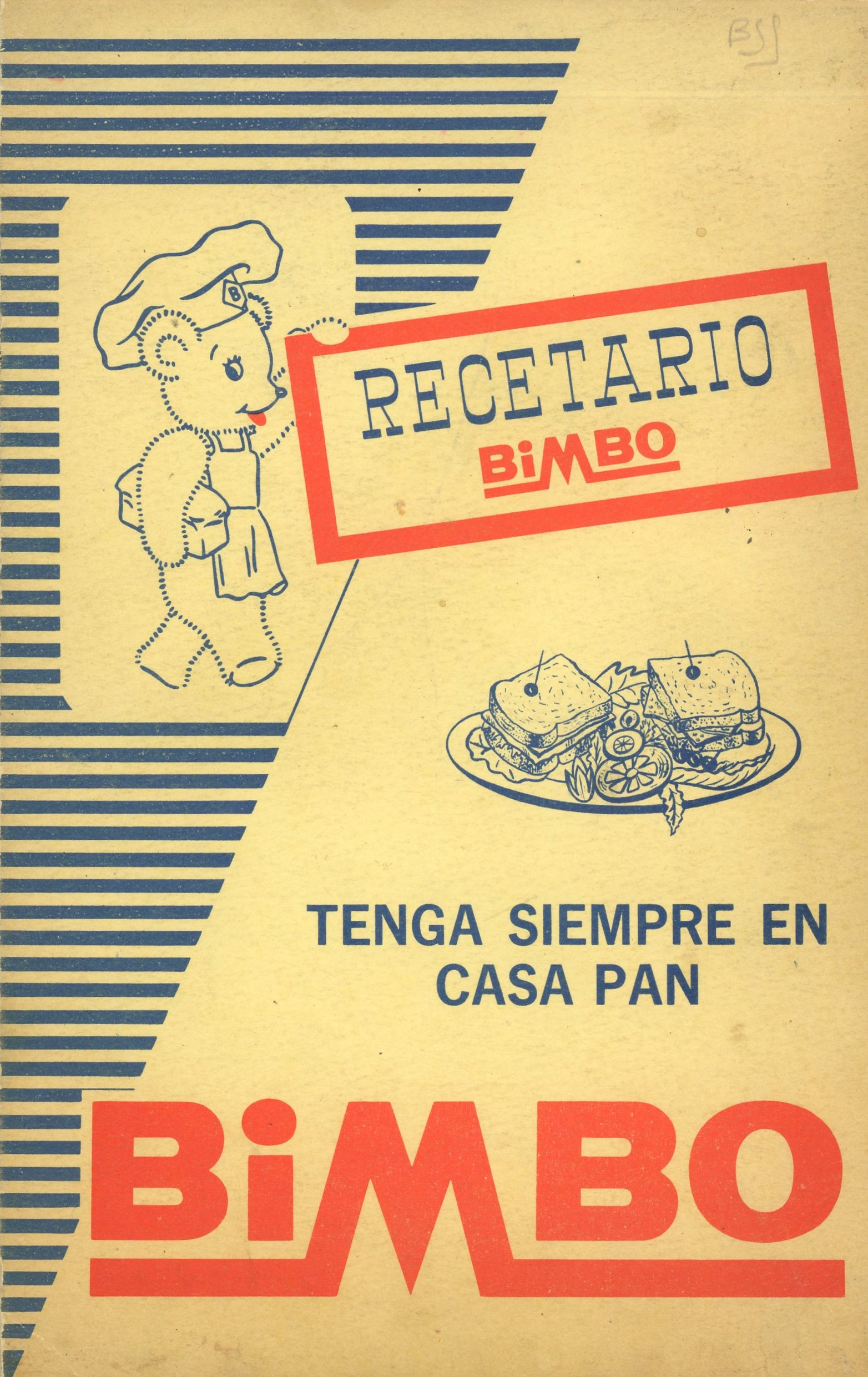 Cover of Recetario Bimbo featuring cartoon bear chef and a plate of sandwiches and salad