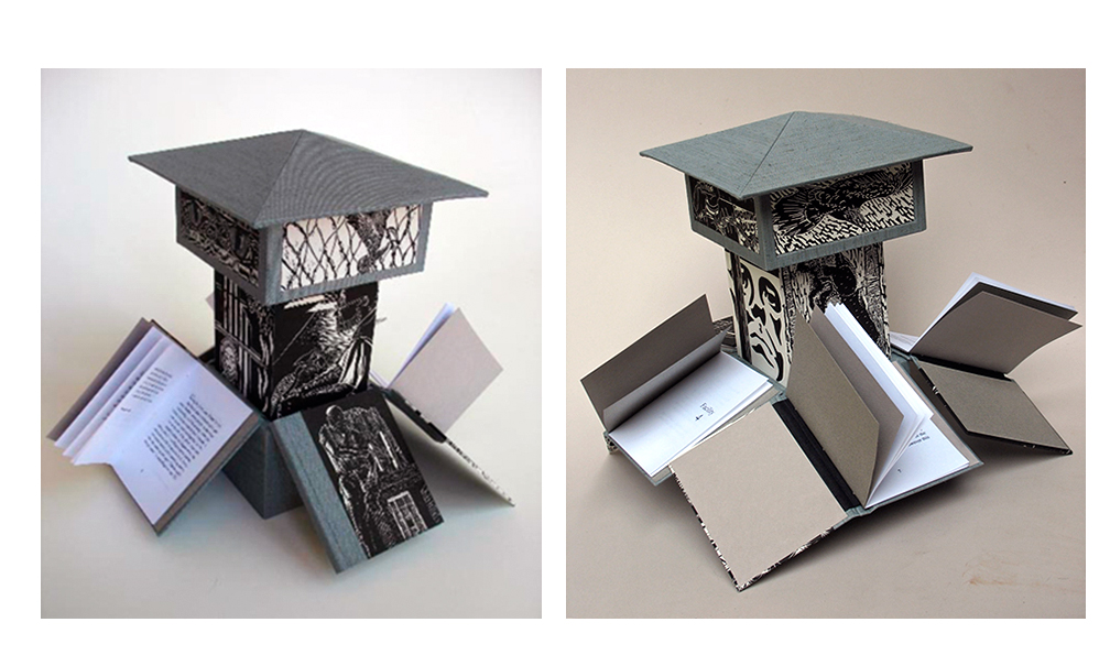 This artists' book was designed by Beth Thielen and consists of linoleum prints and four volumes of original writings by several inmates at the San Quentin State Prison and the California Rehabilitation Center in Norco, California, between the years 2006 and 2007.