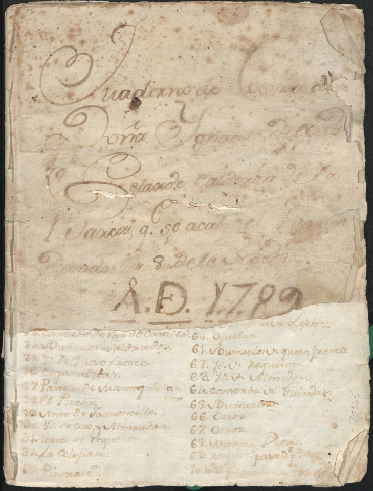 Torn cover of Cuaderno de Cosina de Doña Ignacita manuscript cookbook