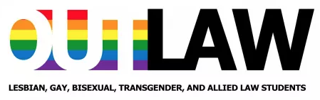OutLaw logo, out with a rainbow flag behind it, law in black.
