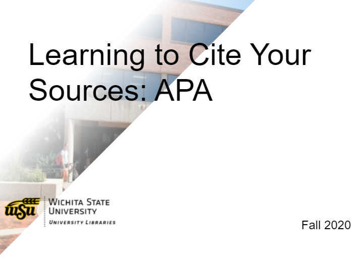 Learning to Cite Your Sources: APA 7th edition