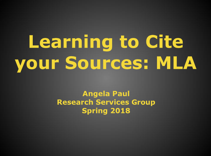 Learning to Cite your Sources: MLA 8th Edition