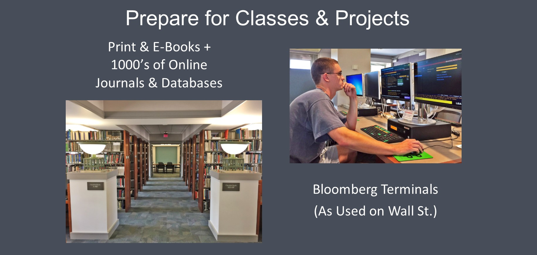 The library has thousands of books and online journals, as well as Bloomberg computers, as used on Wall Street