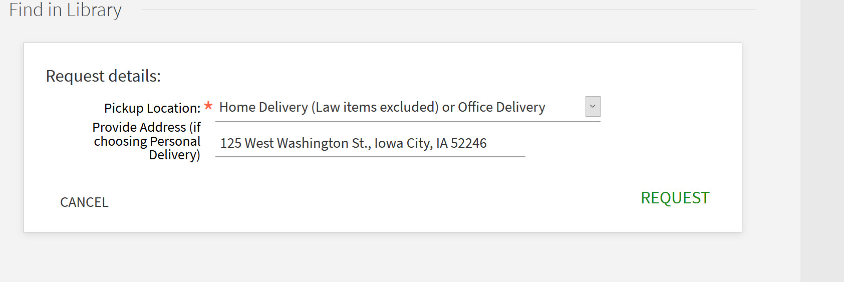 Illustration of shipping address in book delivery request form