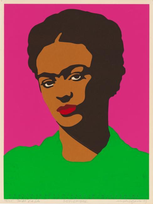 Print shows Frida Kahlo, head-and-shoulders portrait, facing front.