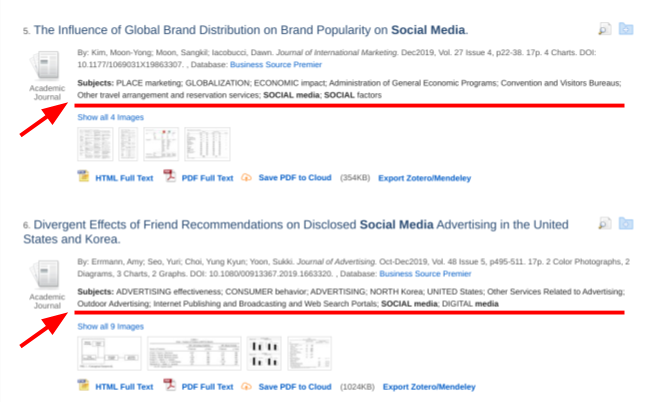 screenshot of ONE Search results page showing location of Subjects (under article information, above article images)