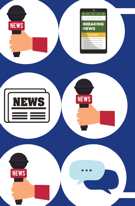 Icons of newspapers and news anchor with microphone