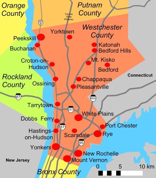 Map of Westchester County