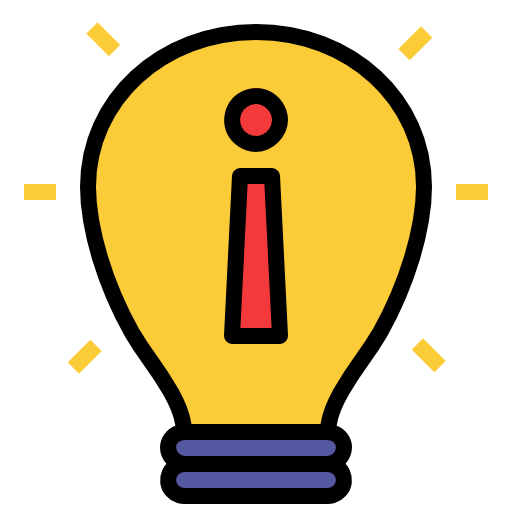 Lightbulb with exclamation point in the cetner