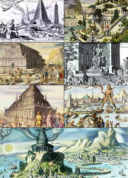 Collage of pictures of the seven wonders of the ancient world